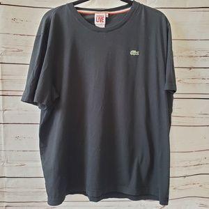 Lacoste live t shirt scoop neck black sz 9